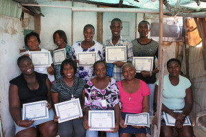 Leaders who completed Child Protection training in the Port-au-Prince neighborhood of Place Sainte Anne.